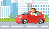 Vector illustration of young woman driving street city landscape