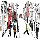 Vector illustration old London buildings and pedestrians
