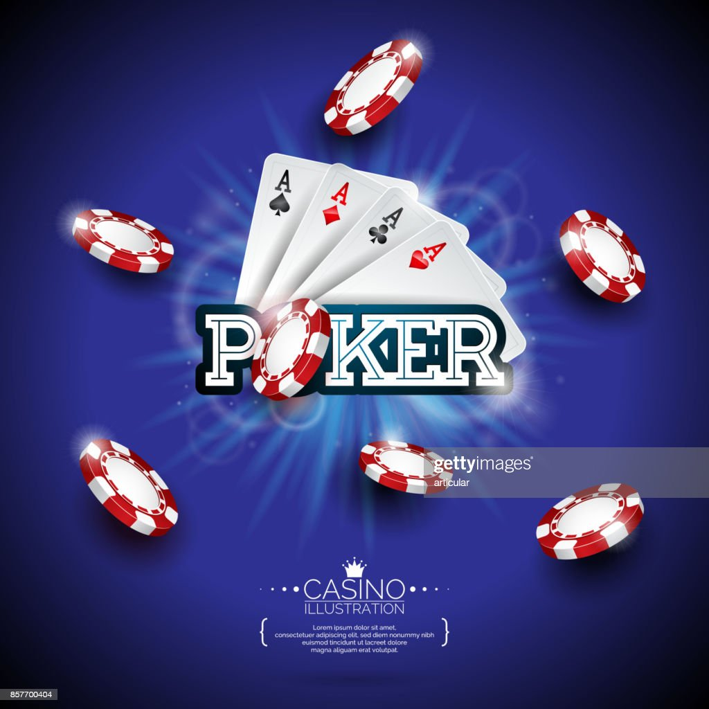 Vector illustration on a casino theme with color playing chips, poker cards and shiny caption on dark blue background. Gambling design elements.