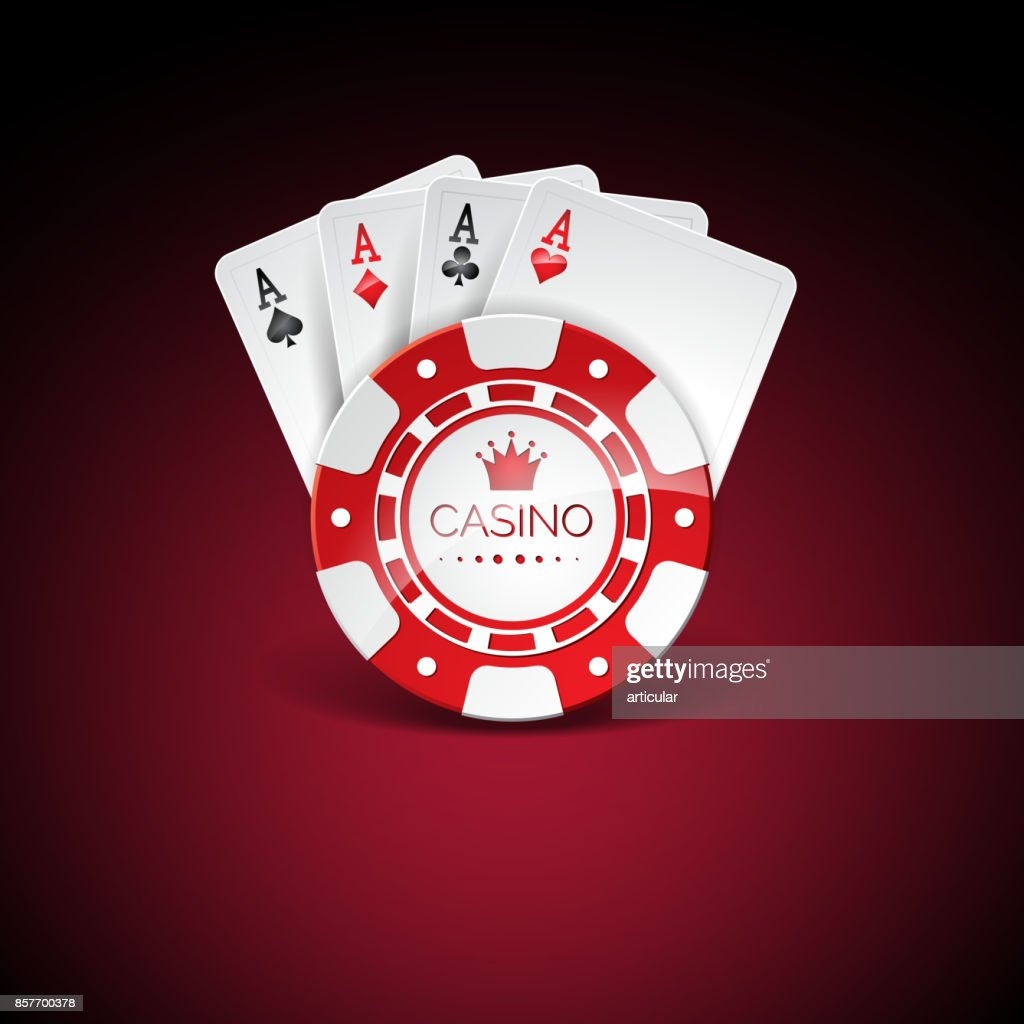 Vector illustration on a casino theme with red playing chips and playig cards on dark background. Gambling design elements.
