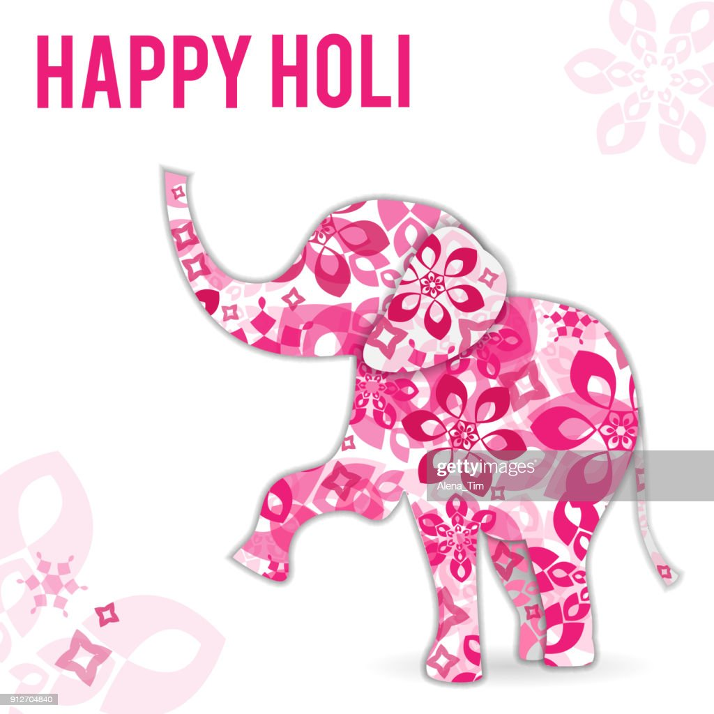 Vector Illustration on holiday Holi in India. The elephant is painted with flowers. The inscription is a congratulation.