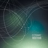 Vector illustration on the theme of cosmos, astronomy, constellation, data transmission. Structure of white curve intersecting thin lines on dark cosmic gradient mesh background with shining points.