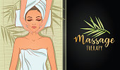 Vector illustration on the theme of massage therapy