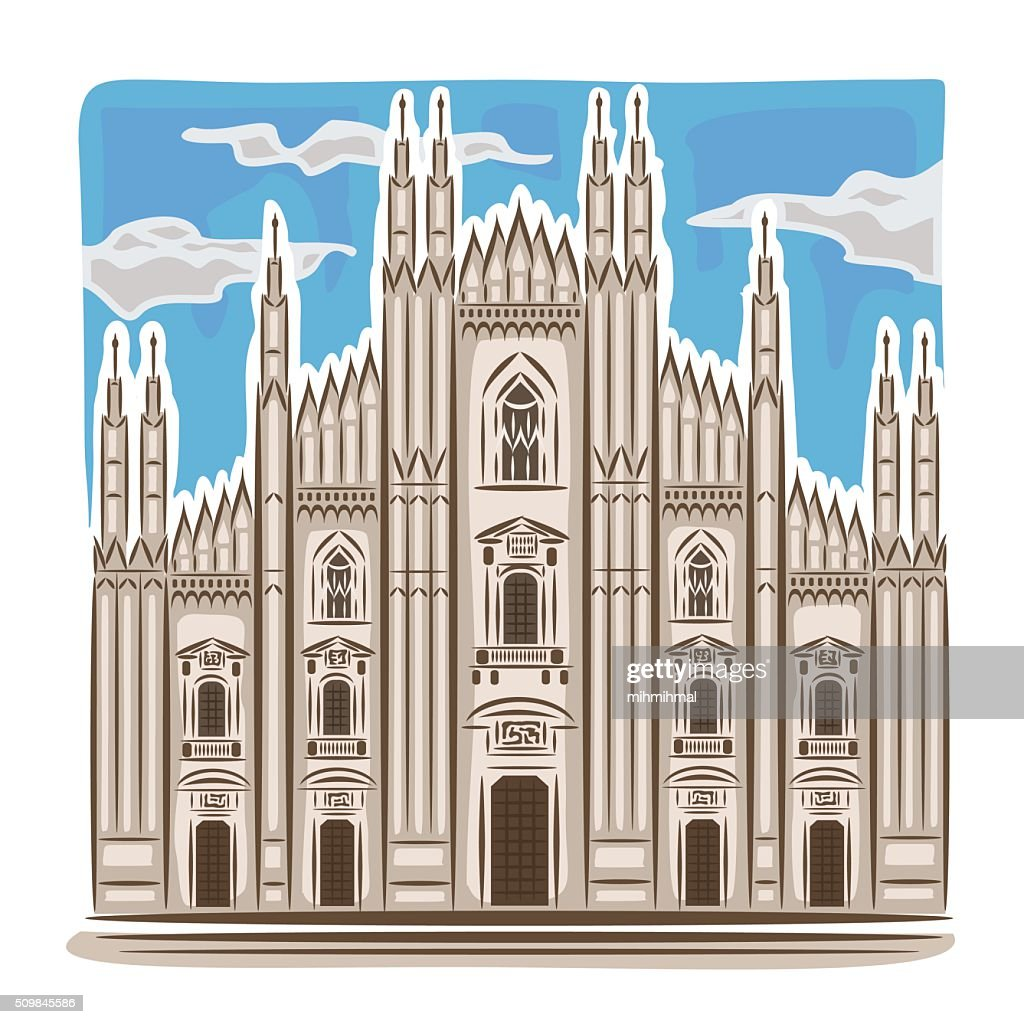 Vector illustration on the theme of Milan cathedral