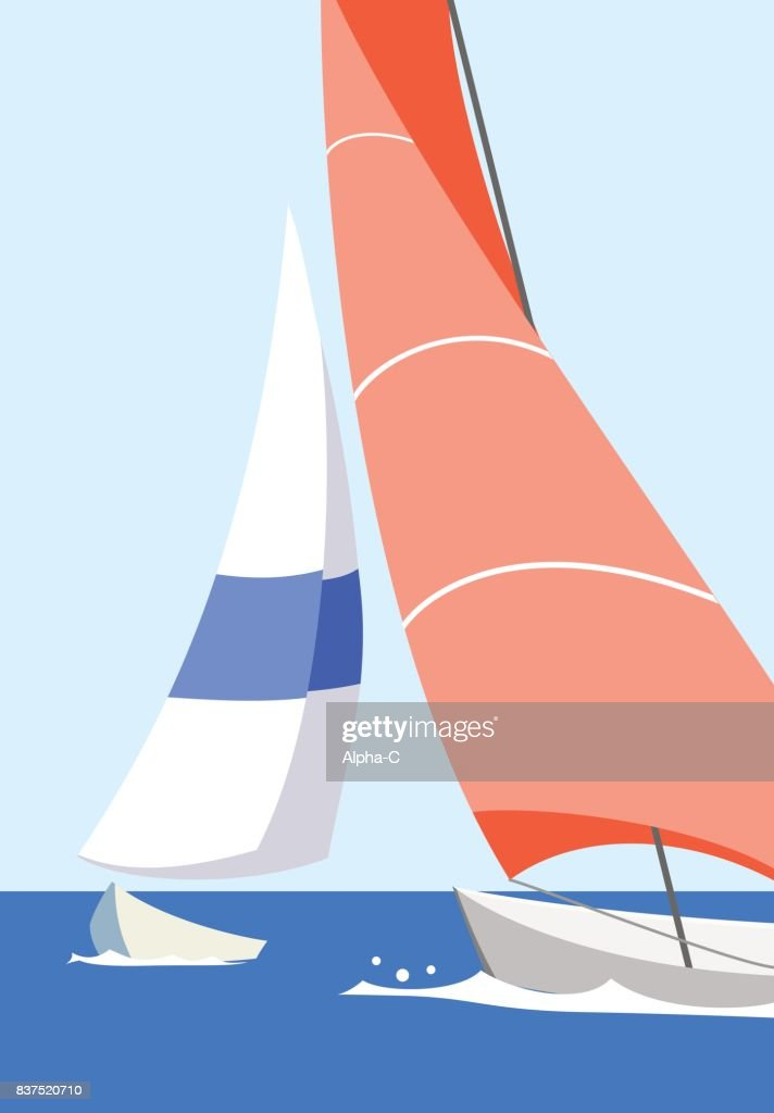 Vector illustration orange and blue yacht