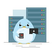 Vector illustration. Penguin - programmer standing with computer and coffee in server room. Cute flat design