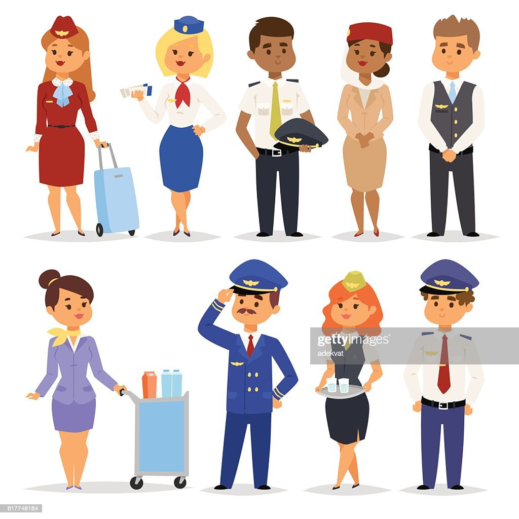 Vector Illustration pilots flight attendants.