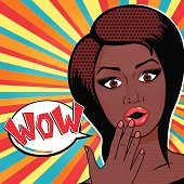 Vector illustration Pop-Art Surprised African American Woman face, WOW sign