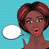 Vector Illustration Pop-Art Surprised African American woman with open mouth