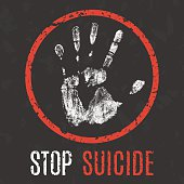 vector illustration. problems of humanity. stop suicide
