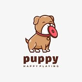 Vector Illustration Puppy Simple Mascot Style.