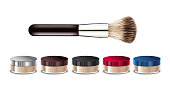Vector illustration realistic loose mineral powder and brush.