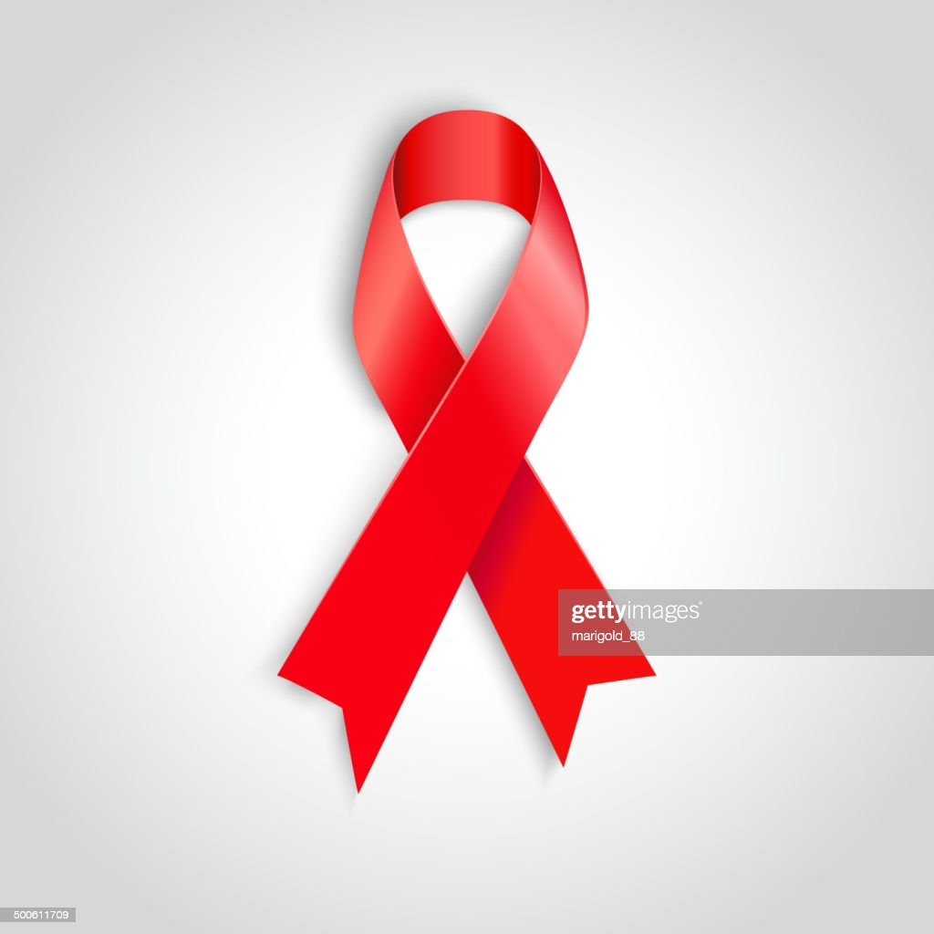 Vector illustration red ribbon - AIDS, HIV, heart disease, stroke