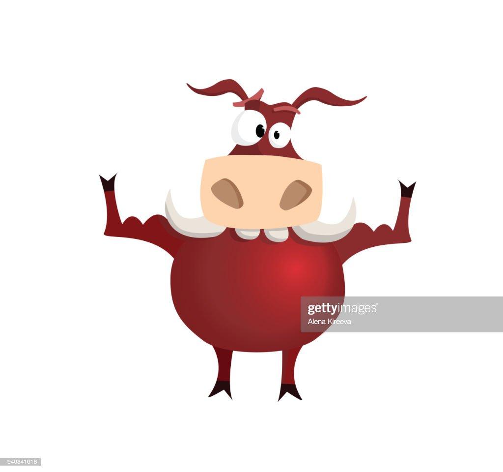 vector illustration red strong bull