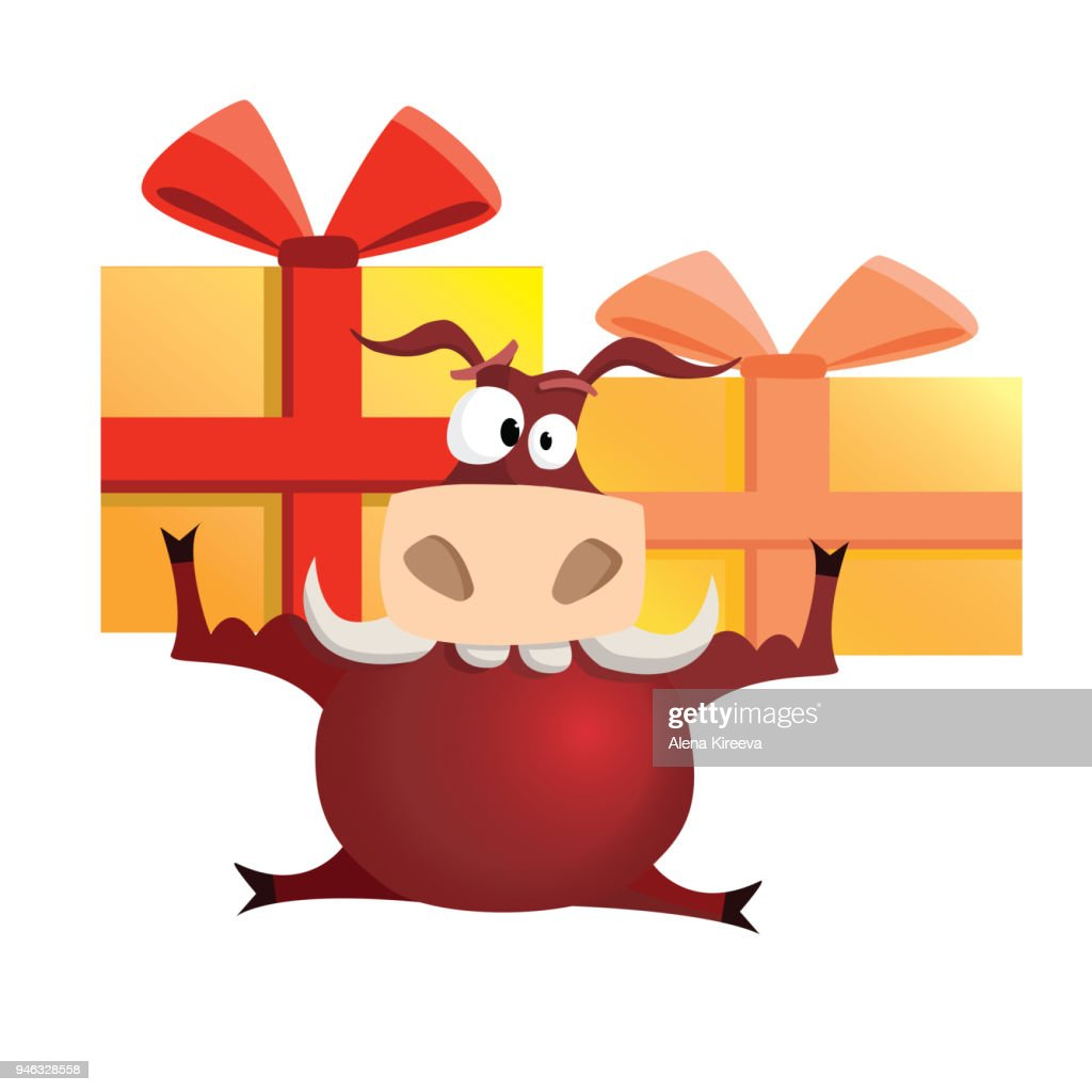 Vector illustration red strong bull with gifts.