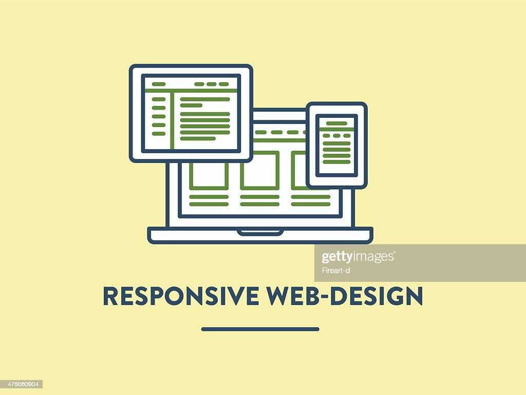 Vector illustration, responsive web-design shown on the laptop, tablet