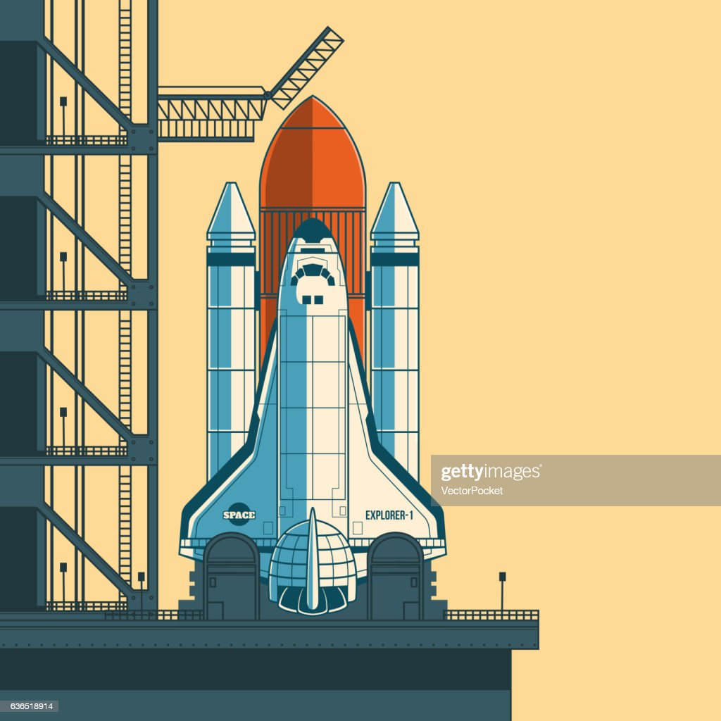 Vector illustration rocket is ready for launch.