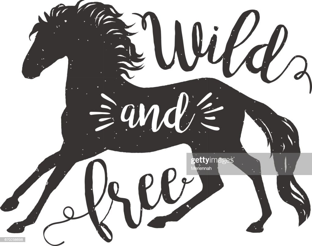 Vector illustration running horse silhouette with lettering text