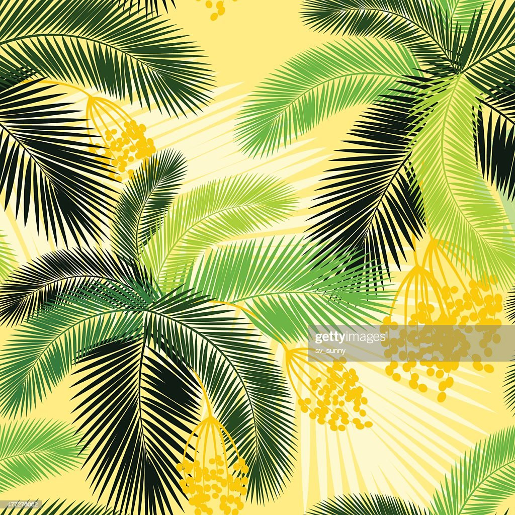 Vector illustration Seamless color palm leaves and fruit pattern