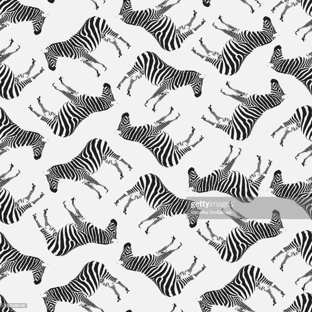 Vector Illustration. Semaless Pattern with Zebras. Black on White.