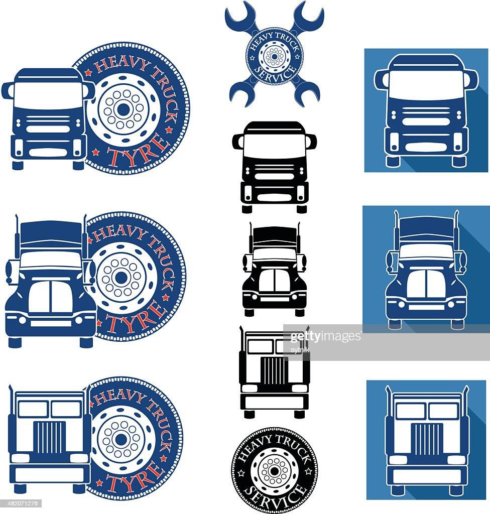 vector illustration set heavy truck automobile service
