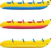Vector illustration set inflatable rubber banana boat