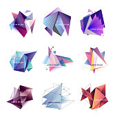 Vector illustration. Set of abstract triangle frames. Geometric figures, crystal. Template for text
