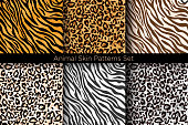 Vector illustration set of animal seamless prints. Tiger and leopard patterns collection in different colors in flat style.