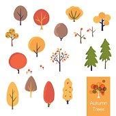 Vector illustration set of autumn trees