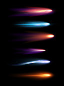 Vector illustration set of beautiful different shapes meteors, comets and fireballs with lighting effect in black galaxy space.