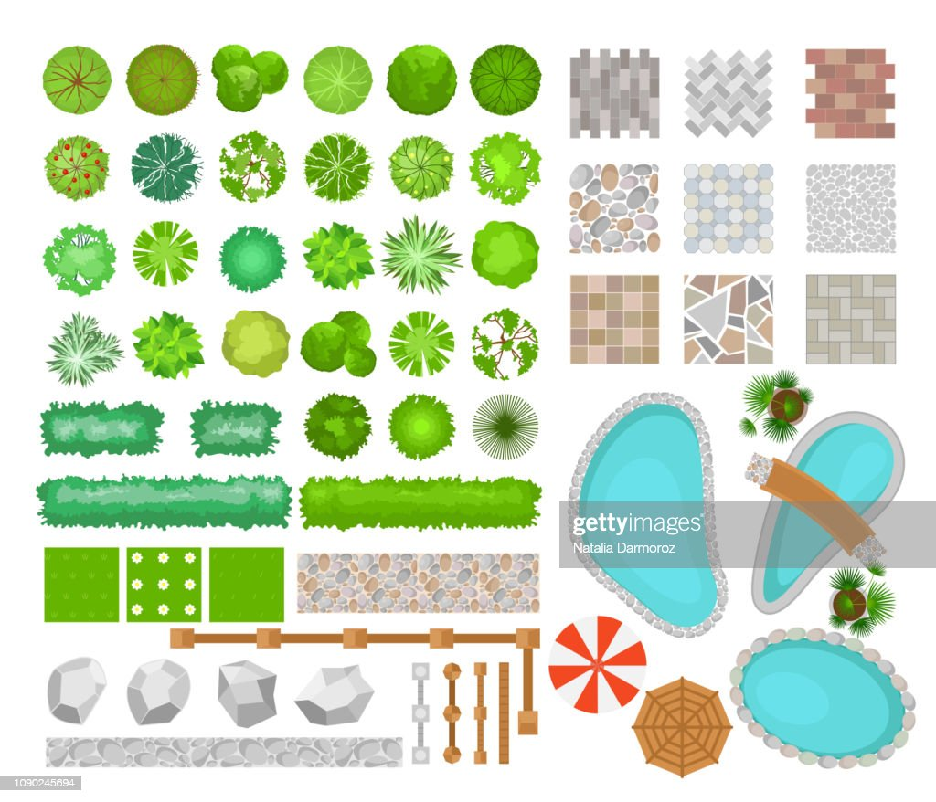 Vector illustration set of bright colorful parck elements for landscape design. Top view of trees, plants, outdoor furniture, architectural elements, pools and fences. Benches, chairs and tables, umbrellas in flat style.