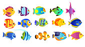 Vector illustration set of bright colors tropical fishes isolated on white background in flat cartoon style.