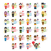 Vector illustration set of cartoon characters saying hello and welcom in 34 languages spoken in Asia and Oceania