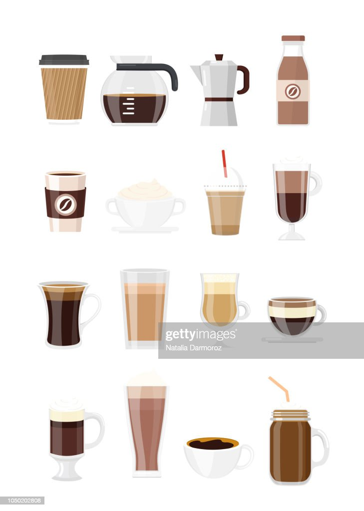 Vector illustration set of coffee drinks. Different typs of coffee isolated on white background in flat style. Coffee maker, chocolate milkshake, espresso, macchiato, cocoa and frappe, americano, latte and cappuccino.