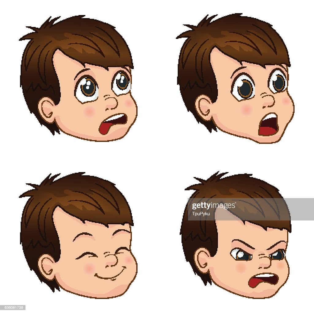 Vector Illustration set of cute little boy faces showing different