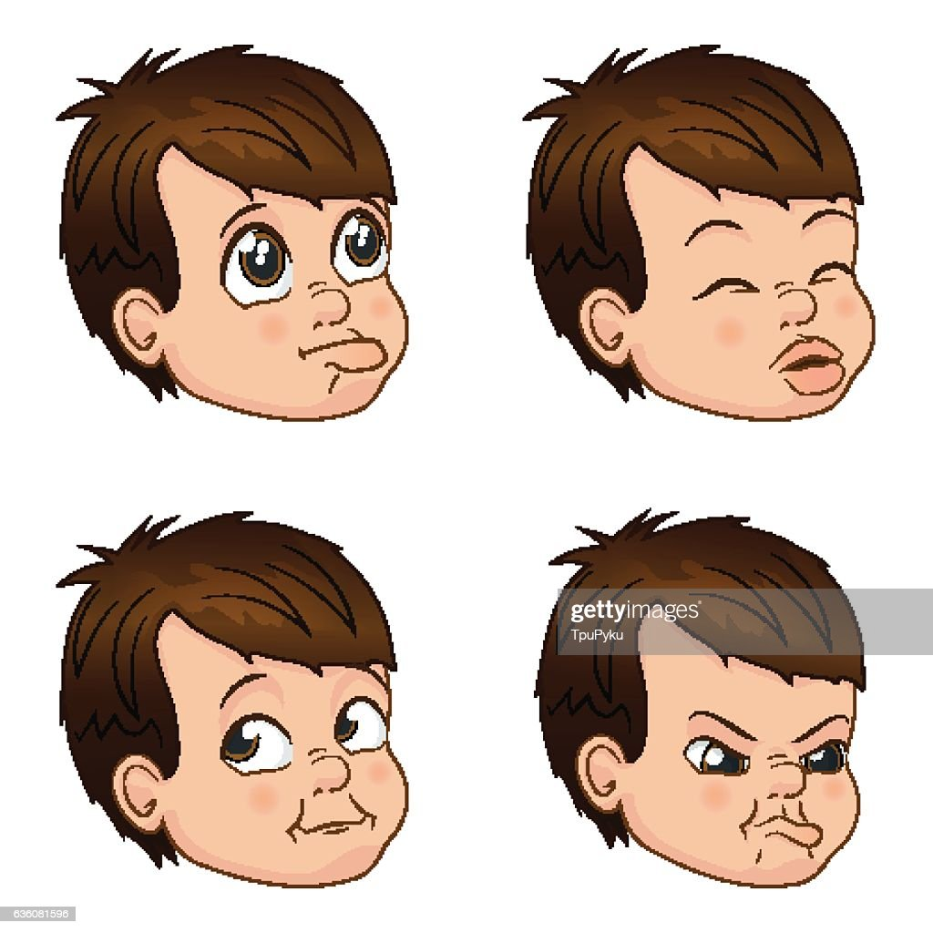Vector Illustration set of cute little bully boy faces showing