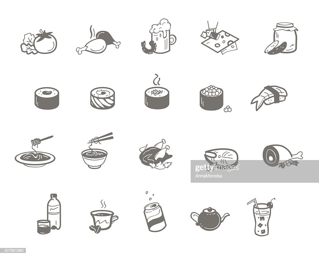 Vector illustration set of dishes for restaurant.