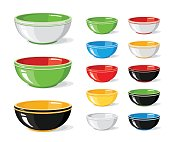 Vector illustration set of food icons. Different colourful empty bowls isolated on a white background. Cooking collection. Kitchen objects for your design