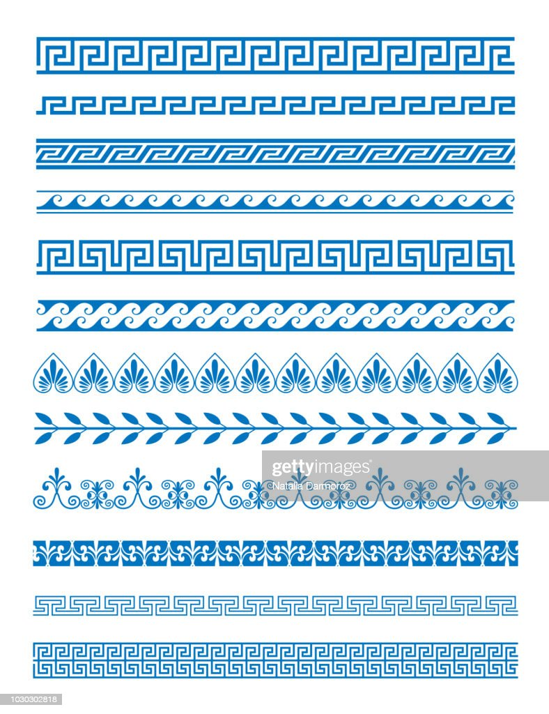 Vector illustration set of Greek patterns and ornaments on white background. Wave and meander decorative elements set blue color.
