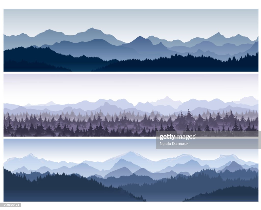Vector illustration set of horizontal backgrounds with wild nature mountains with forest in morning fog.