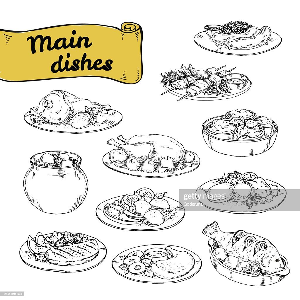 vector illustration set of main courses for design of restaurants