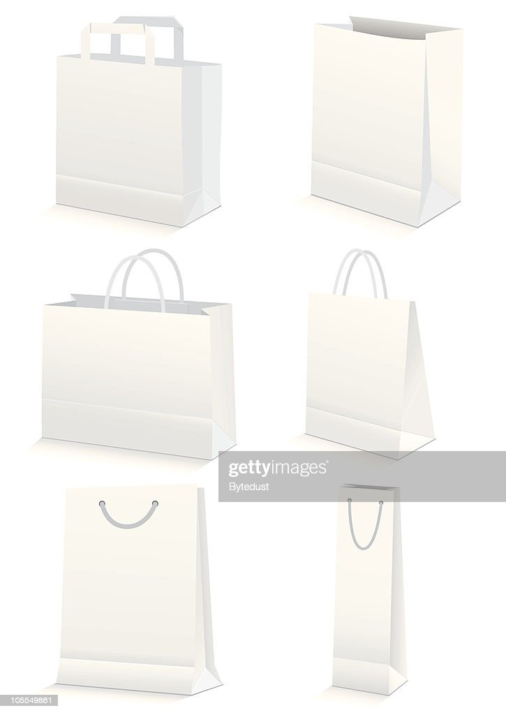 Vector illustration set of paper shopping or grocery bags.
