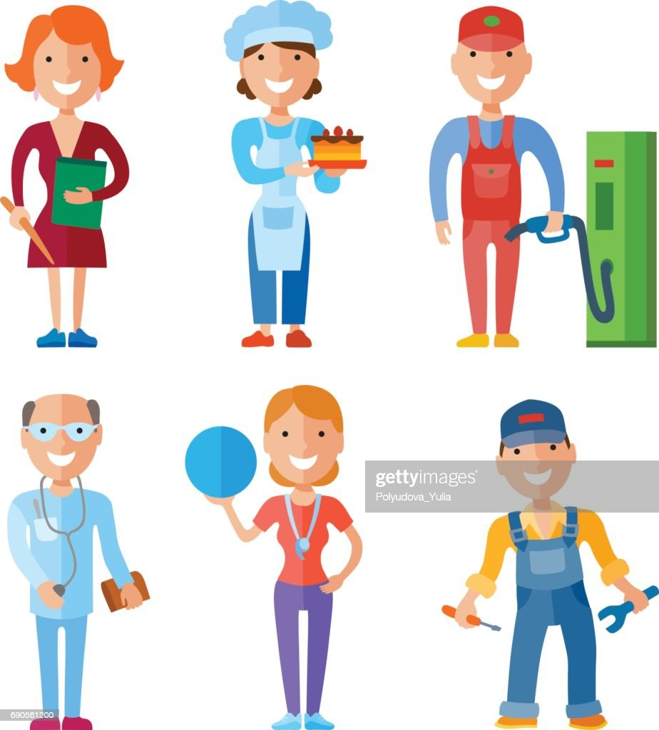 Vector illustration set of people of different professions