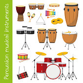 Vector illustration set of percussion musical instruments in cartoon style isolated on white background