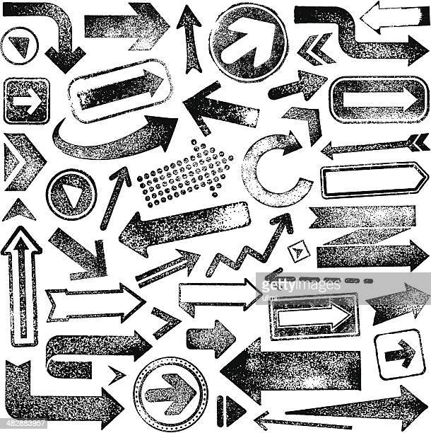 vector illustration set of rubber stamp arrows - tracing stock illustrations