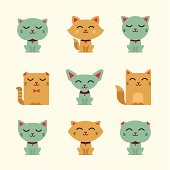Vector illustration set of smiling cats