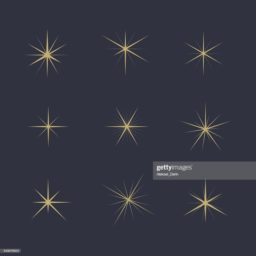 Vector illustration Set of Sparkles Star