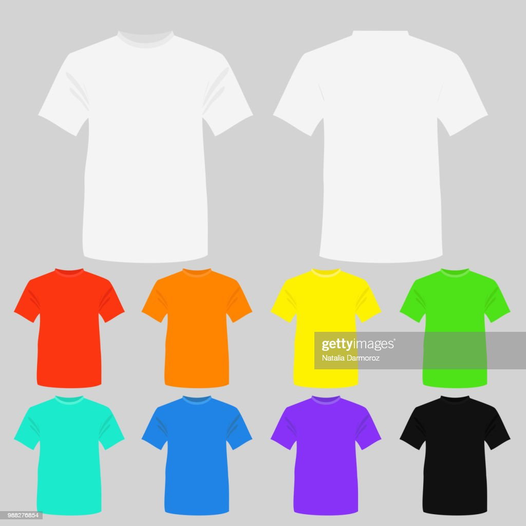 Vector illustration set of templates colored t-shirts. T-shirts in white, black and other bright colors in flat style.