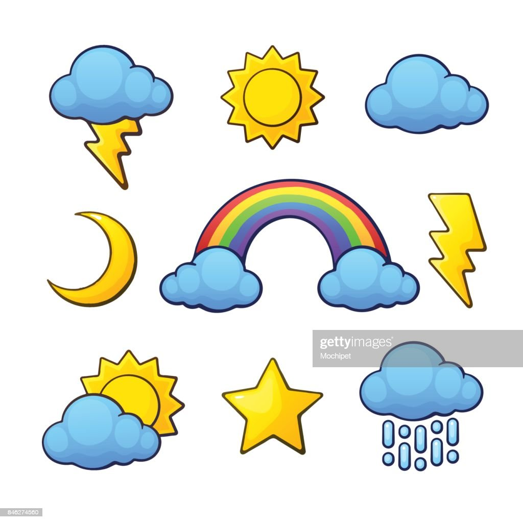 Vector Illustration Set Weather Symbols In Cartoon Style With