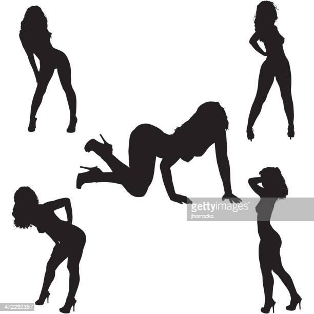 bildbanksillustrationer, clip art samt tecknat material och ikoner med vector illustration: sexy female silhouettes - naket